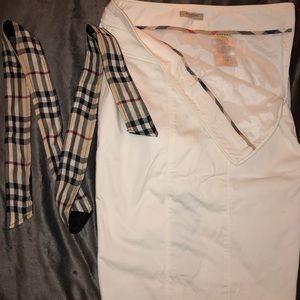All white Burberry skirt